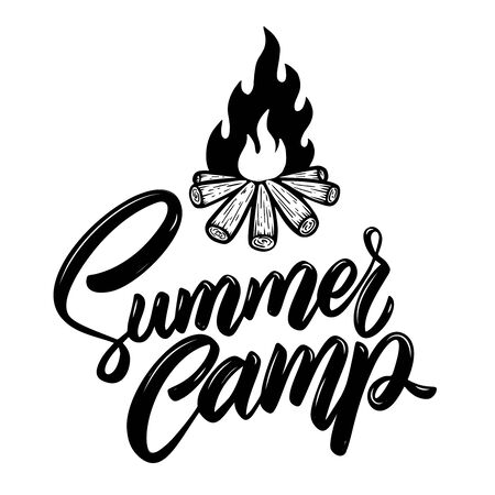 Summer camp. Lettering phrase with campfire illustration. Design element for poster, card, banner, t shirt. Vector illustration Stock Illustratie
