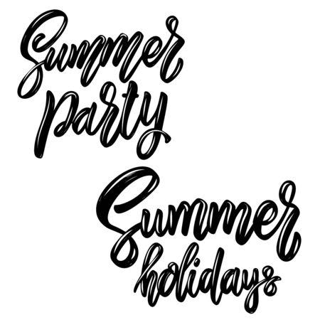 Summer party. Lettering phrase. Design element for poster, card, banner, sign, flyer. Vector illustration
