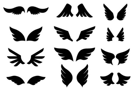 Set of the wing icons. Design element for poster, emblem, sign, label. Vector illustration