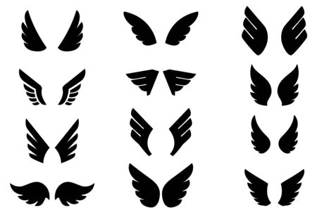 Set of eagle wing icons. Design elements for  label, sign, badge. Vector illustration
