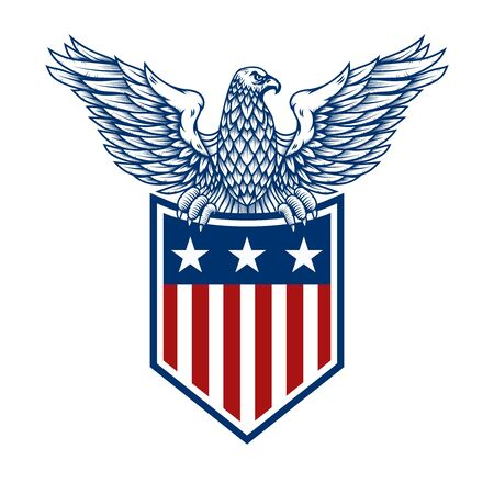 emblems with eagles and usa flags.
