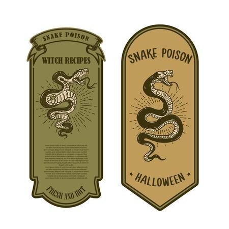 Veleno di serpente di Halloween. Modello di etichetta della bottiglia. Elemento di design per poster, carta, banner, segno. Illustrazione vettoriale