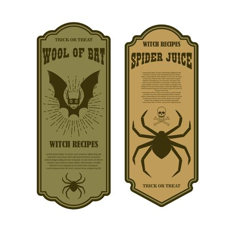 Halloween poison label. Wool of bat. Spider juice. Design element for poster, card, banner, sign. Vector illustration Ilustracja