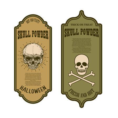 Halloween poison label. Skull powder. Ilustração