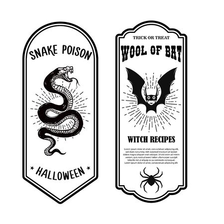 Halloween poison label. Wool of bat. Snake poison. Design element for poster, card, banner, sign. Vector illustration