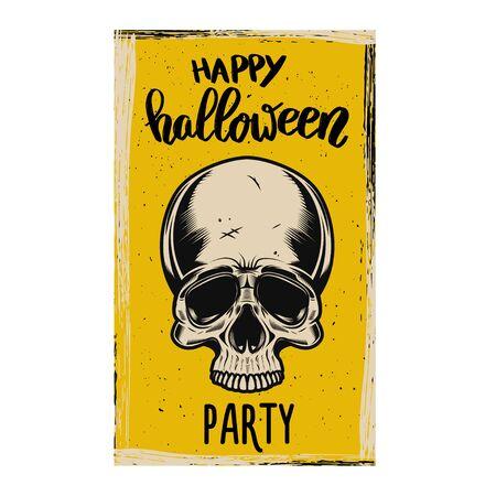 Flyer template of Halloween party. Evil skull on grunge background. Ilustração