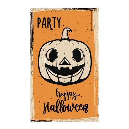 Flyer template of Halloween party. Evil pumpkin on grunge background. Design element for poster, card, banner. Vector illustration Ilustração