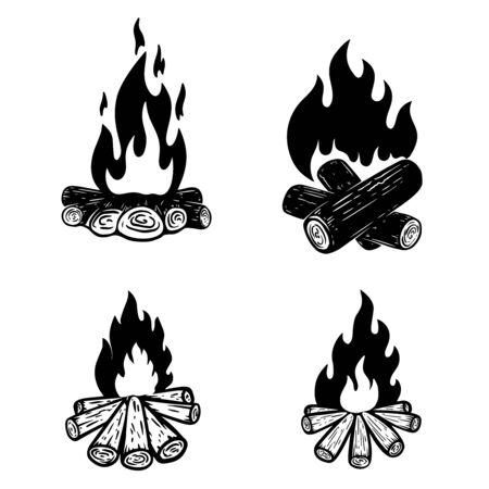 Set of campfire illustration. For poster, card, banner, flyer. Vector illustration