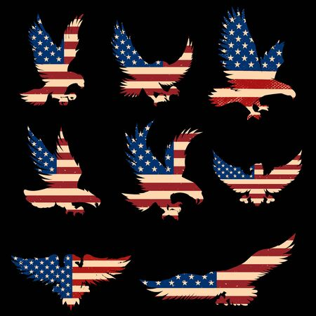 Set of Eagle silhouette with usa flag background.