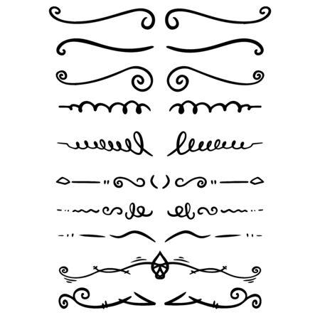 Set di divisori di testo disegnati a mano. Per poster, biglietti, striscioni, volantini. Illustrazione vettoriale
