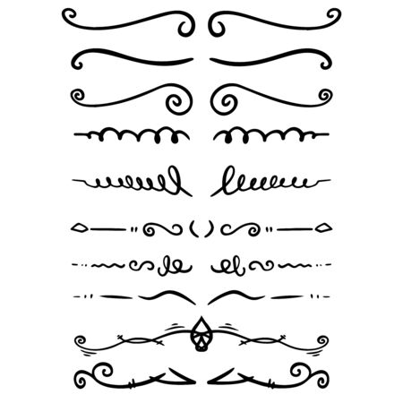 Set of hand drawn text dividers. For poster, card, banner, flyer. Vector illustration