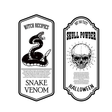 Halloween snake poison. Skull powder. Bottle label template. Design element for poster, card, banner, sign. Vector illustration