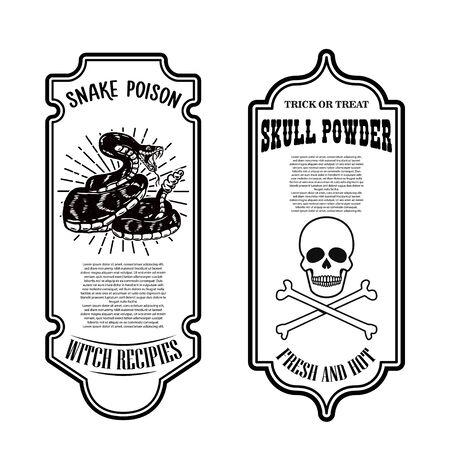 Veleno di serpente di Halloween. Cranio in polvere. Modello di etichetta della bottiglia. Elemento di design per poster, carta, banner, segno. Illustrazione vettoriale