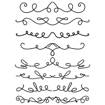 Set of hand drawn calligraphic elements. For poster, card, banner, flyer. Vector illustration