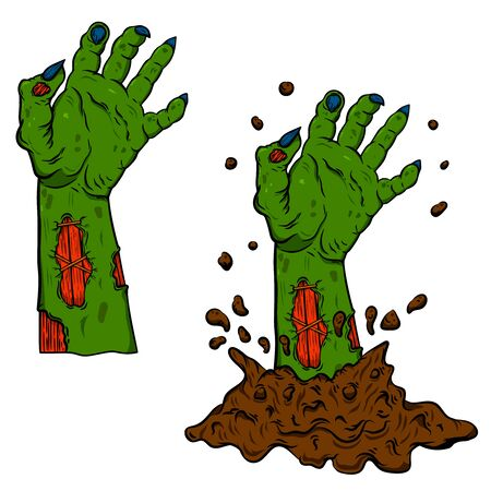 Dead zombie hand out of the ground. Design element for poster, card, banner. Vector illustration