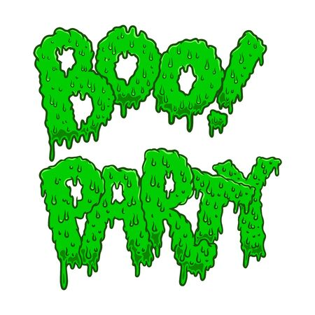 Boo! Party. Lettering phrase in slime style. Halloween theme. Design element for poster, card, banner, sign. Vector illustration
