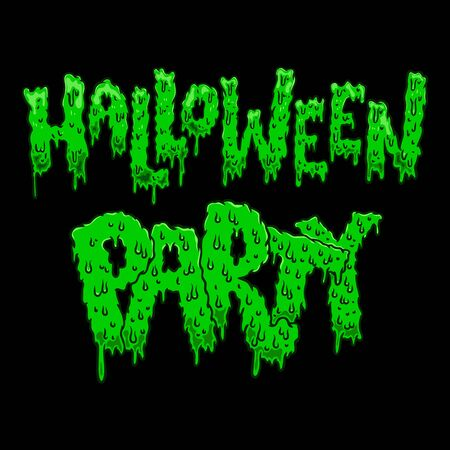 Halloween party. Lettering phrase in slime style. Halloween theme. Design element for poster, card, banner, sign. Vector illustration