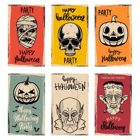 Set of flyer templates of Halloween party. Halloween monsters on grunge background. Design element for poster, card, banner. Vector illustration
