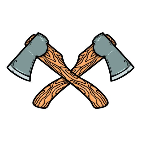 Crossed axes isolated on white background. Design element for emblem, sign, badge. Vector illustration
