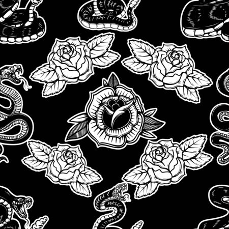Seamless pattern with snakes and roses. Design element for poster, card, banner, t shirt. Vector illustration
