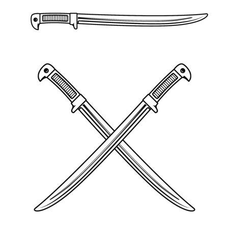 Crossed swords isolated on white background. Design element for logo, label, badge, sign. Vector illustration