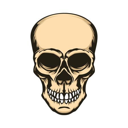 Skull illustration isolated on white background. Design element for label, sign. Vector illustration