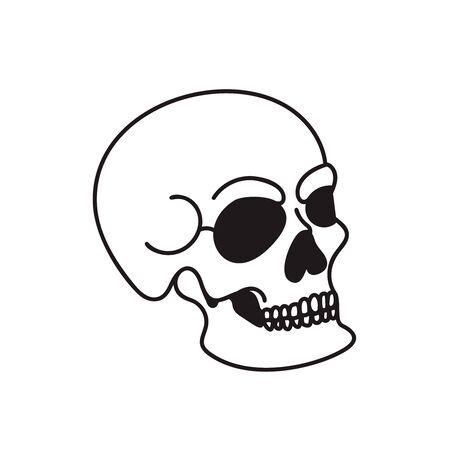 Skull illustration isolated on white background. Design element for  label, sign. Vector illustration 向量圖像