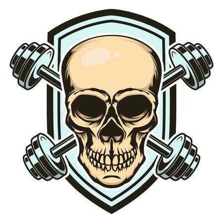 Sport emblem with skull and crossed barbells. Design element for label, sign. Vector illustration