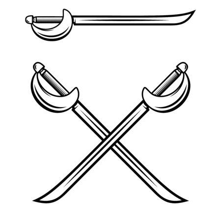 Crossed swords isolated on white background. Design element for label, badge, sign. Vector illustration