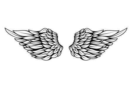 Illustration der Flügel im Tattoo-Stil isoliert auf weißem Hintergrund.