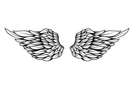 illustration of wings in tattoo style isolated on white background.