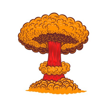 Illustration of atomic bomb explosion in comic style. Design element for poster, card, banner, sign, flyer.Vector illustration Vector Illustration