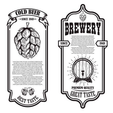 Set of beer flyers with hop illustrations. Design element for poster, banner, sign, emblem. Vector illustration Imagens - 136943868