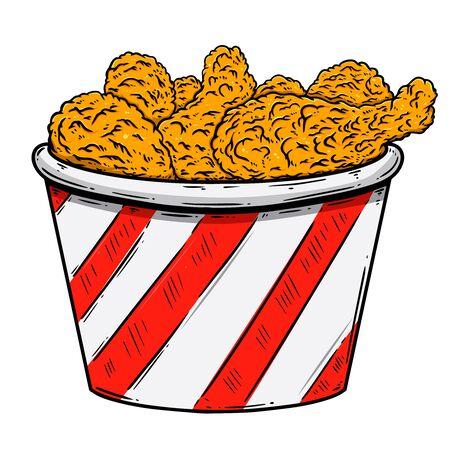 Illustration of bucket of fried chicken. Design element for poster, card, banner, sign, flyer.Vector illustration Vetores