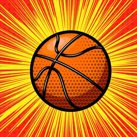 Basketball ball on comic style background. Design element for poster, card, banner. Vector illustration Vektorové ilustrace
