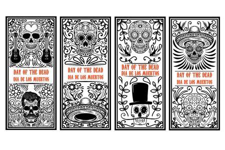 Set of Day of the dead (Dia de los muertos) flyer templates. Design element for poster, card, banner. Vector illustration