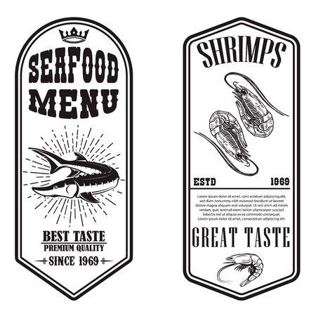 Set of seafood flyers with shrimp and fish illustrations. Design element for poster, banner, sign, emblem. Vector illustration