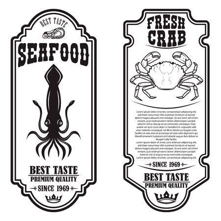 Set of seafood flyers with squid and crab illustrations. Design element for poster, banner, sign, emblem. Vector illustration