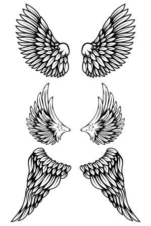 Set of illustrations of wings in tattoo style isolated on white background. Vektoros illusztráció