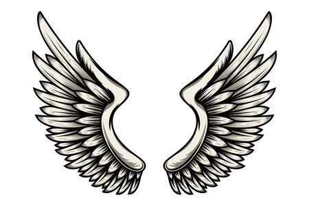 Ilustración de alas en estilo tatuaje aislado sobre fondo blanco.