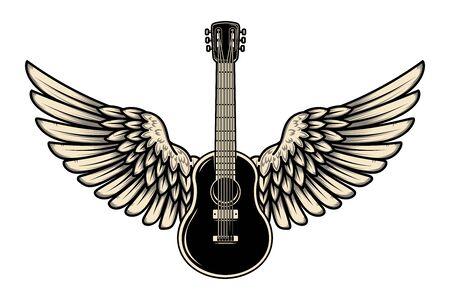 Illustration of winged guitar isolated on white background.