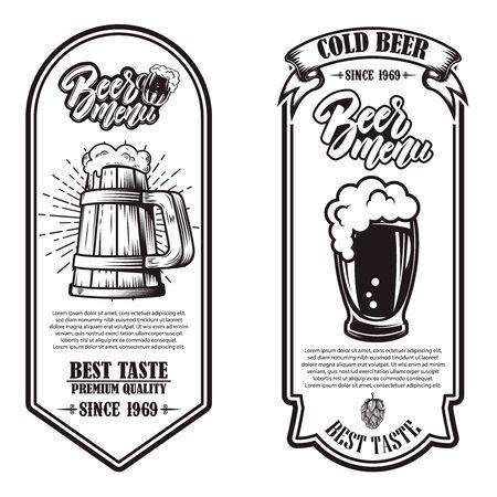 Set of beer flyers with hop illustrations. Design element for poster, banner, sign, emblem. Vector illustration Imagens - 137522351