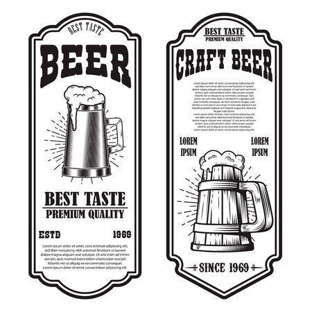 Set of beer flyers with beer mug illustrations. Design element for poster, banner, sign, emblem. Vector illustration Imagens - 137870121