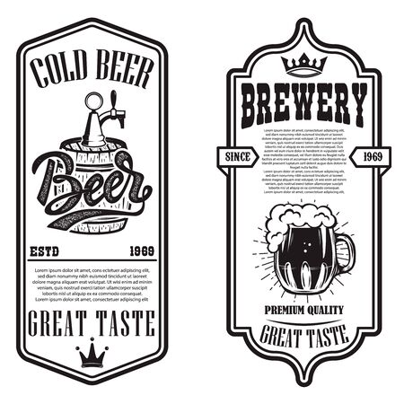 Set of beer flyers with hop illustrations. Design element for poster, banner, sign, emblem. Vector illustration