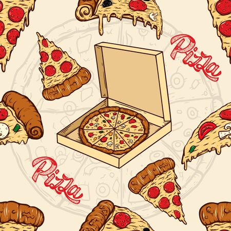 Seamless pattern with pizza and olives. Design element for poster, card, banner, flyer. Vector illustration Ilustrace