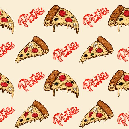 Seamless pattern with pizza. Design element for poster, card, banner, flyer. Vector illustration
