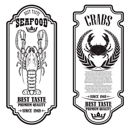 Set of seafood flyers with lobster and crab illustrations. Design element for poster, banner, sign, emblem. Vector illustration