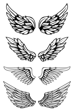 Set of illustrations of wings in tattoo style isolated on white background. Design element for logo, label, badge, sign. Vector illustration