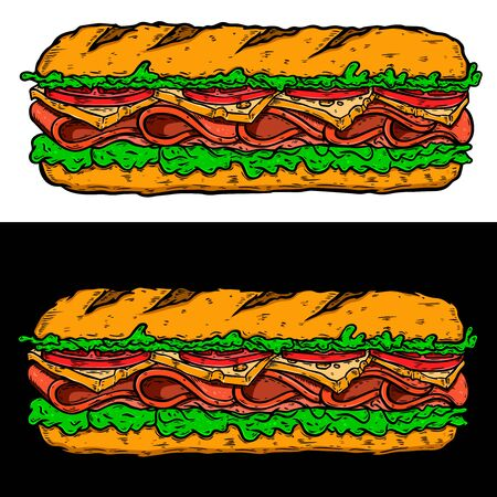 Illustration of submarine sandwich. Design element for poster, card, banner, sign, flyer.Vector illustration