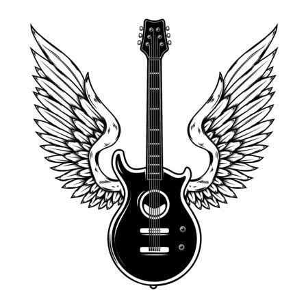 Illustration of winged guitar isolated on white background. Design element for poster, banner, sign, emblem. Vector illustration